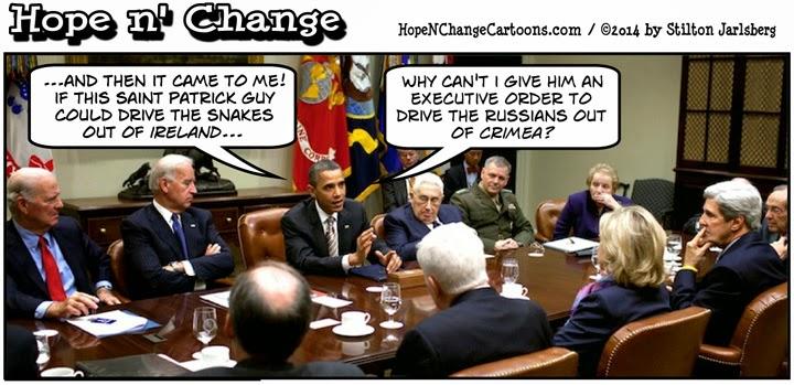obama, obama jokes, cartoon, humor, funny, hope n' change, hope and change, stilton jarlsberg, st. patrick's day, irish, crimea, russia, ukraine, st. patrick
