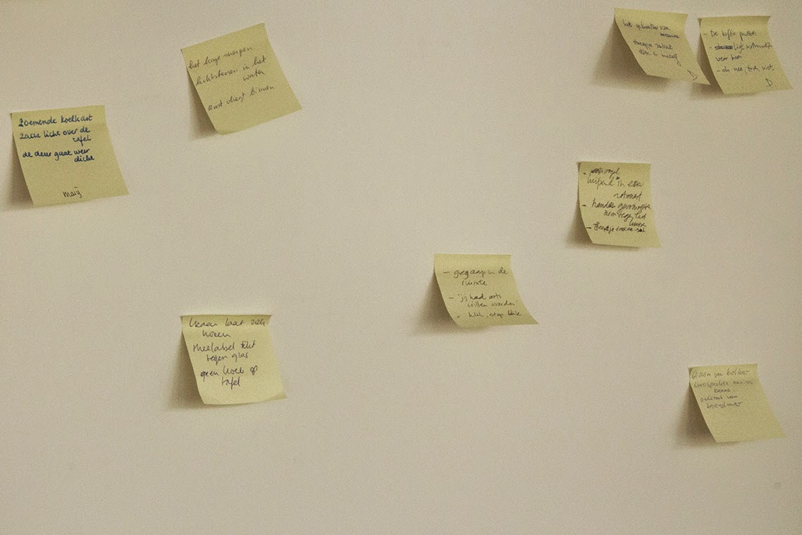 collection of haikus on sticky notes