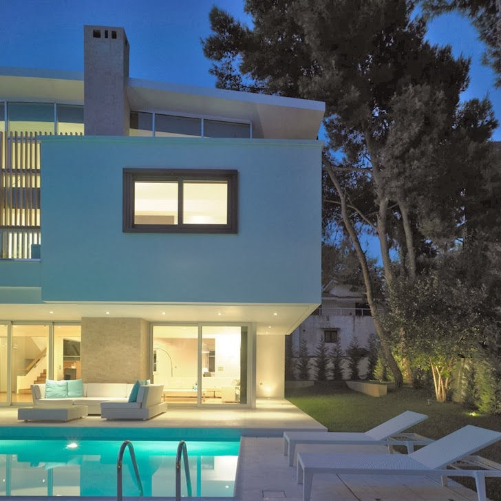 Terrace lights in Kostala House by Thanos Athanasopoulos