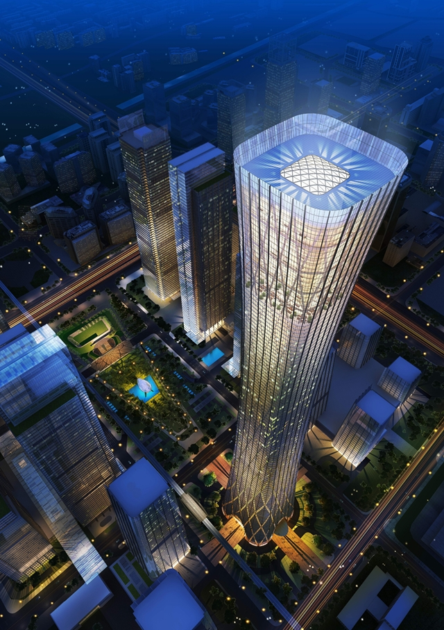 Rendering of the CITIC Plaza at night