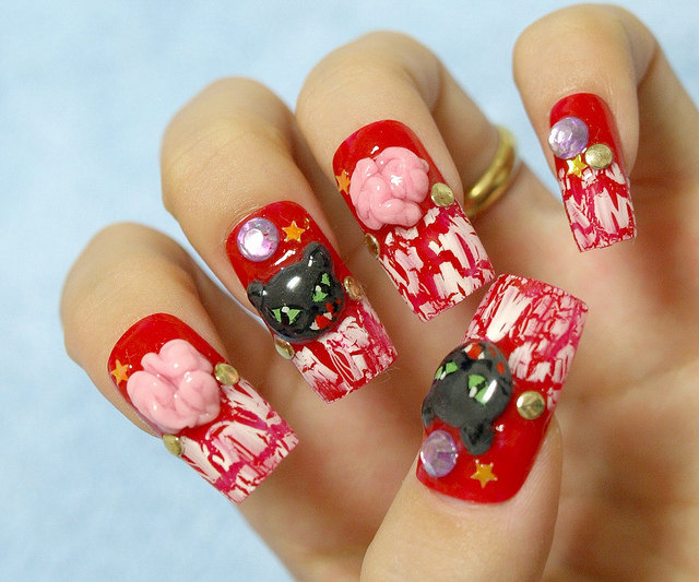 Fierce Black Cats and Brains Japanese 3D Nails