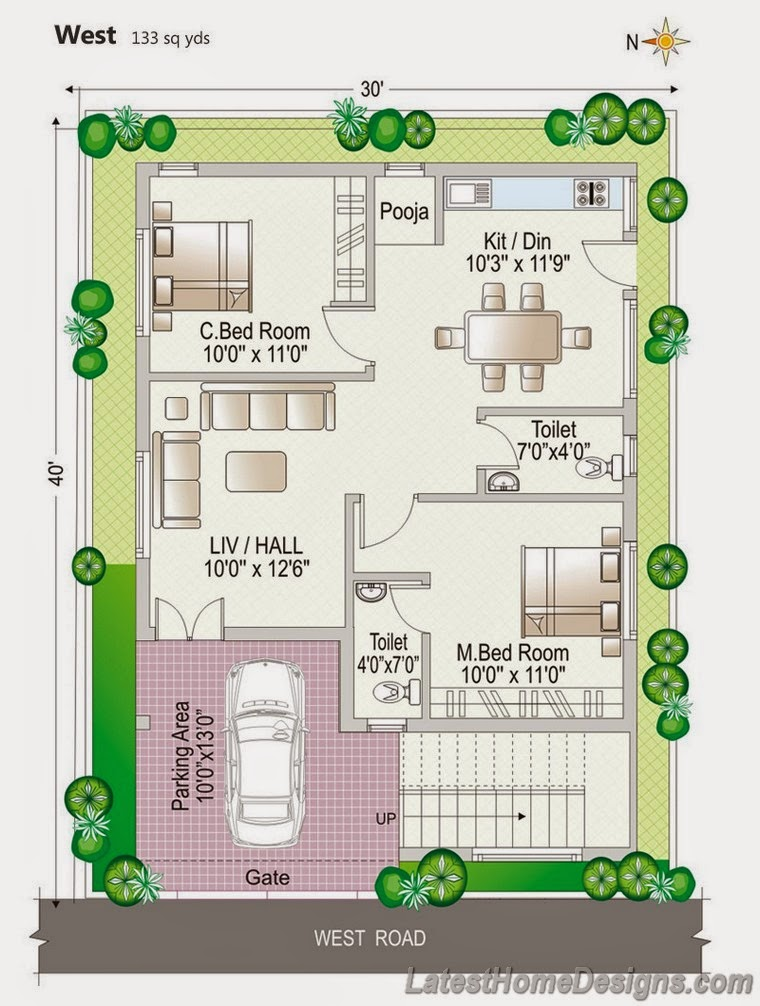 ... sq yds west facing 2 BHK independent home plan - Latest Home Designs