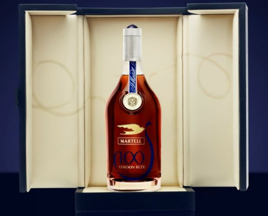photos of Martell Cordon Bleu Centenary Jewel Edition Bottle of cognac with blue case