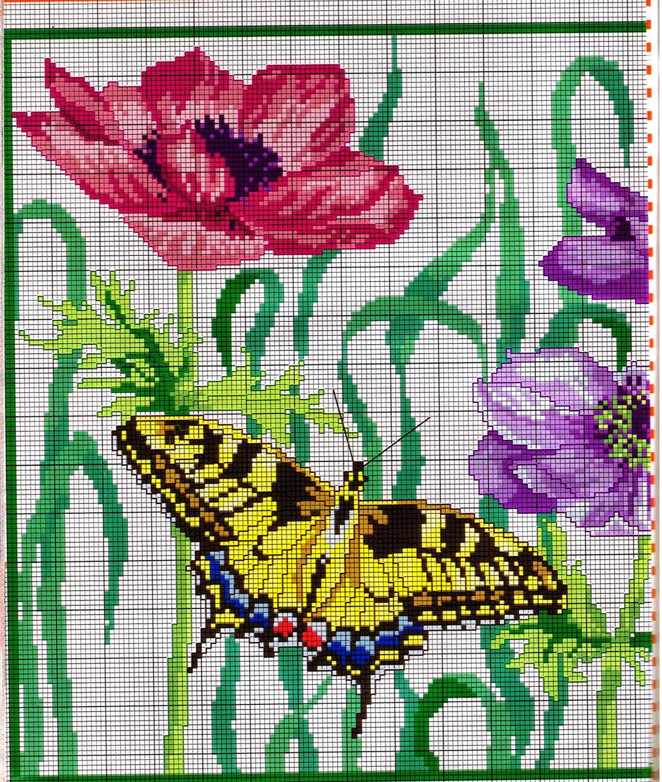 Tante farfalle da ricamare a punto croce for Farfalle a punto croce