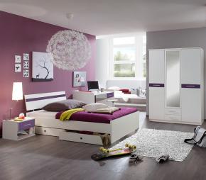 diseño de dormitorio morado juvenil