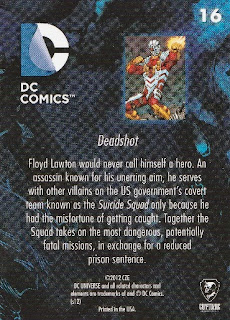 Back of New 52 DC Comics trading card #16 Deadshot