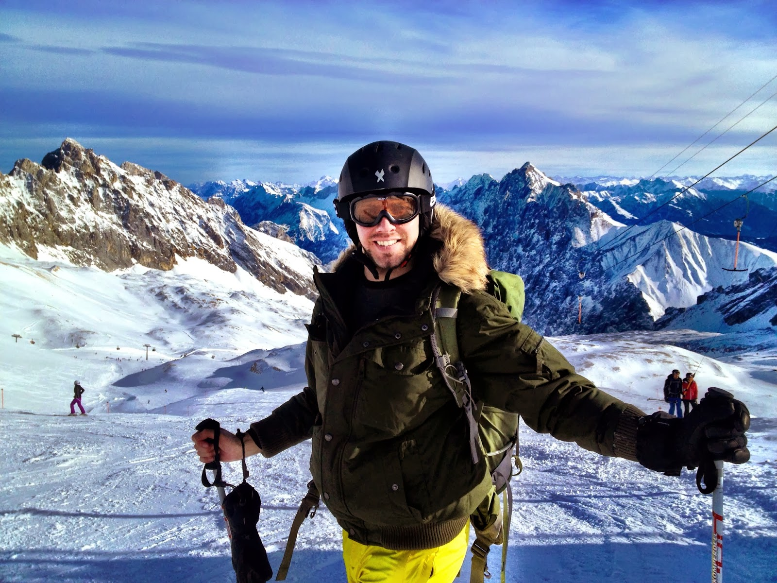 Simon on the ski slopes of the Zugspitze, Germany