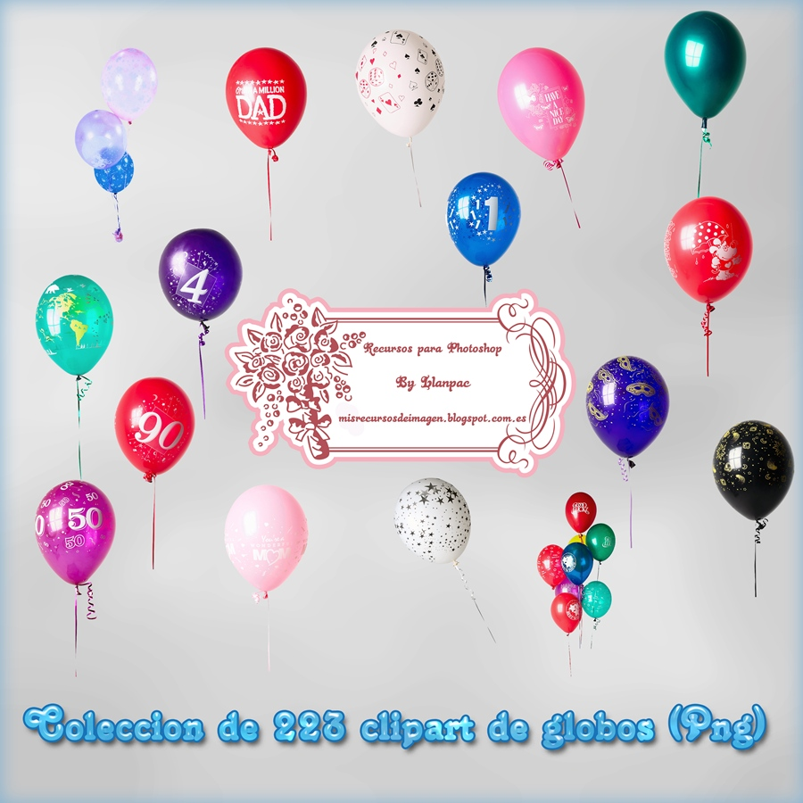 Recursos Photoshop Llanpac: Coleccion de clipart de globos para ...
