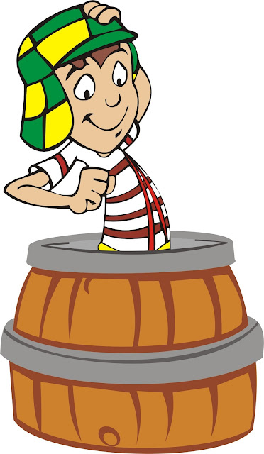 Chaves no barril desenho colorido