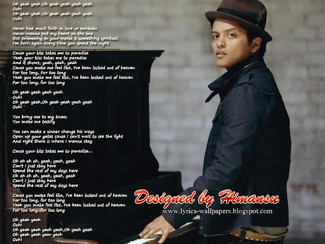 Lyrics Wallpapers Bruno Mars Locked Out Of Heaven