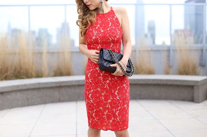tiger mist NEXT GIRL BACKLESS DRESS, baublebar statement earrings, classic chanel flap bag, christian louboutin heels, birthday dress, date night outfit, valentines day dress, fashion blog
