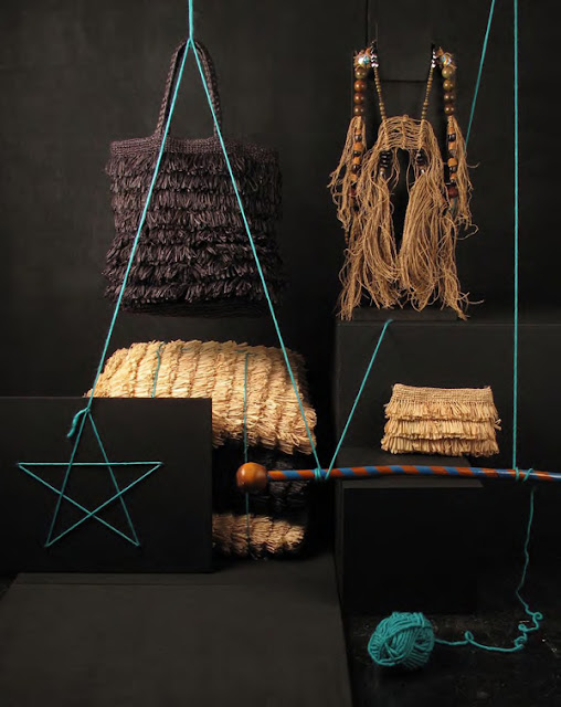 Raffia bag, clutch and floor cushions by Madwa; Hemp, prayer bead and Swarovski crystal harness by CCCHU