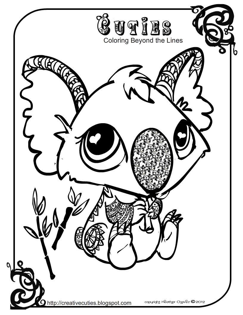 Coloring pages for littlest pet shop -  Cuties Free Animal Coloring Pages
