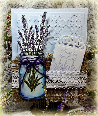 Stamps - Our Daily Bread Designs Lavender, Blue Ribbon Winner, Ornate Borders Sentiments, ODBD Custom Canning Jars Dies, ODBD Custom Recipe Card and Tags Dies,  ODBD Custom Quatrefoil Pattern Die