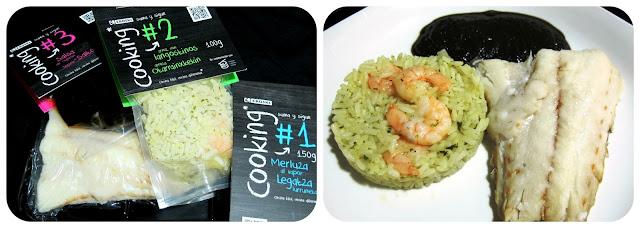 Eroski Cooking - Merluza al vapor, arroz con gambas y salsa de chipirón