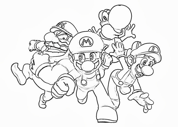 Mario characters coloring pages title=