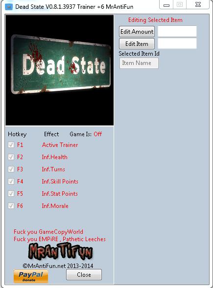 Dead State V0.8.1.3937 Trainer +6 MrAntiFun