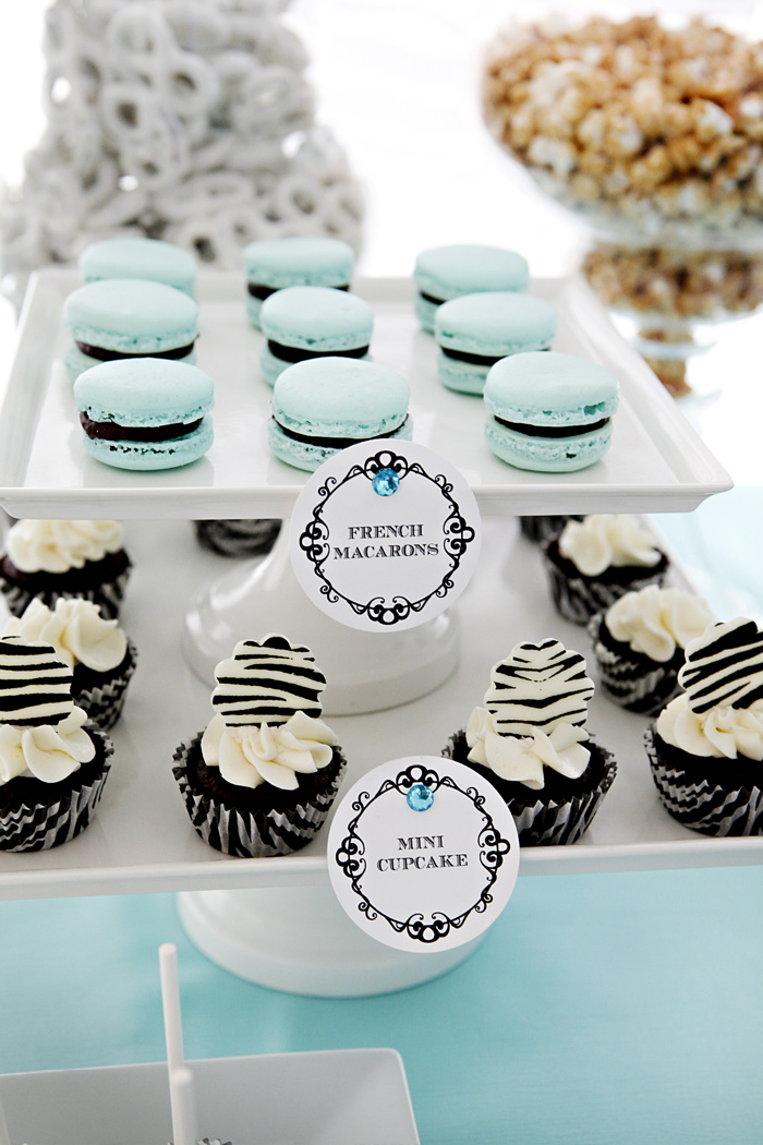 Zebra search results the couture cakery french macaron cookies in tiffany blue with chocolate ganache filling mini cupcakes in zebra liners with chocolate zebra print decorations on top junglespirit