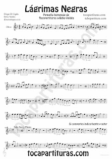 Tubescore Black Tears Sheet music for Oboe Lagrimas Negras by Bebo valdes Bolero music score