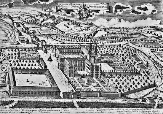 Kloster Rot an der Rot. Kupferstich von Claude François Nicole aus K. L. Hugo 1736