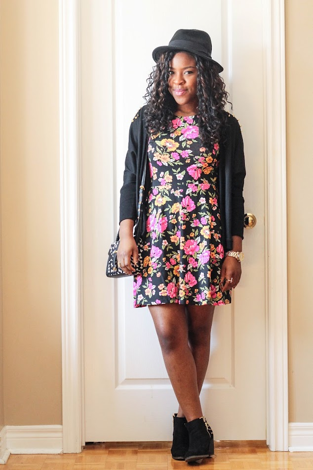 floral dress, forever 21, shoedazzle, fedora, canadian fashion blogger, personal style, african american blogger
