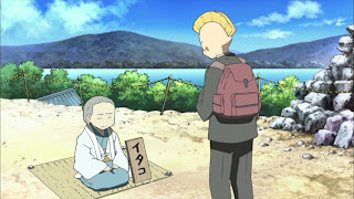 Screenshot from nichijou of Nakanojo talking to a medium (Itako) at osorezan