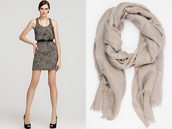 Michael Kors printed tank dress - Love Quotes lurex Italian linen scarf