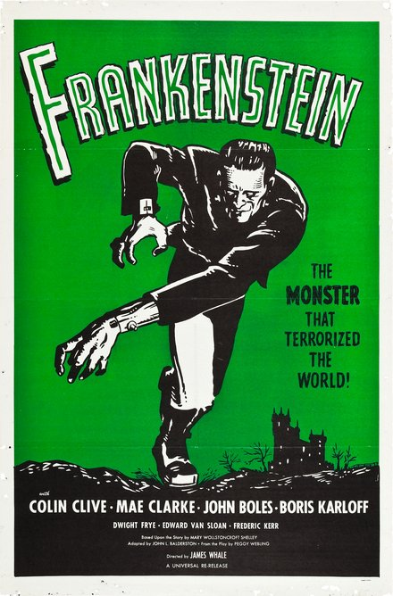 movies, theater, horror movie, vintage, vintage posters, free download, graphic design, retro prints, classic posters, Frankenstein, The Monster That Terrorized the World - Vintage Horror Movie Poster