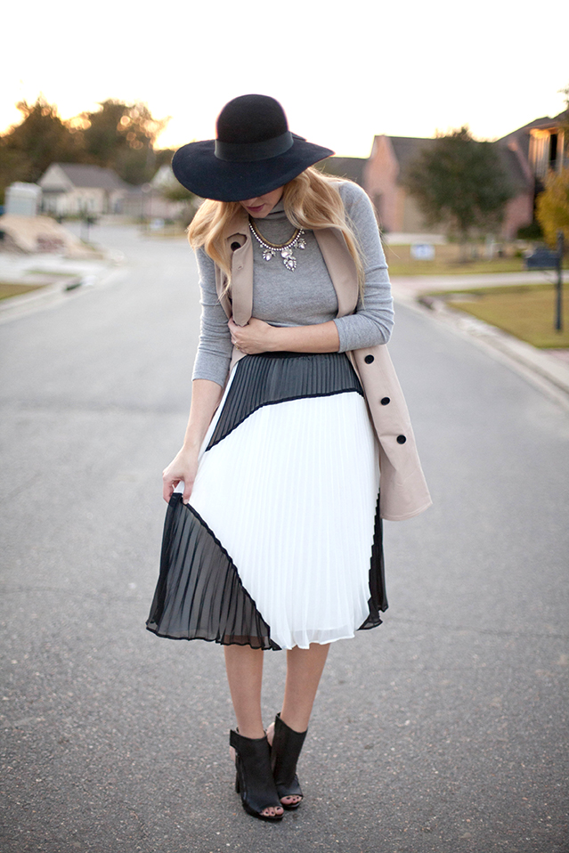turtleneck and midi skirt