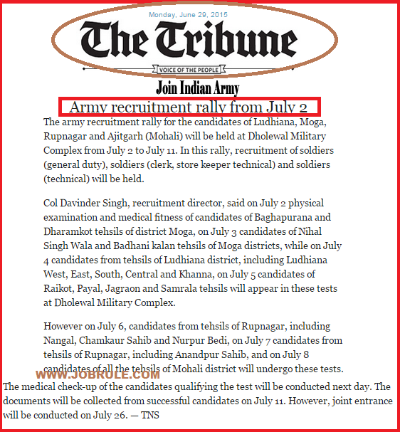 Ludhiana Dholewal Military Complex Direct Army Soldier Recruitment Rally Schedule 2nd-11th July 2015
