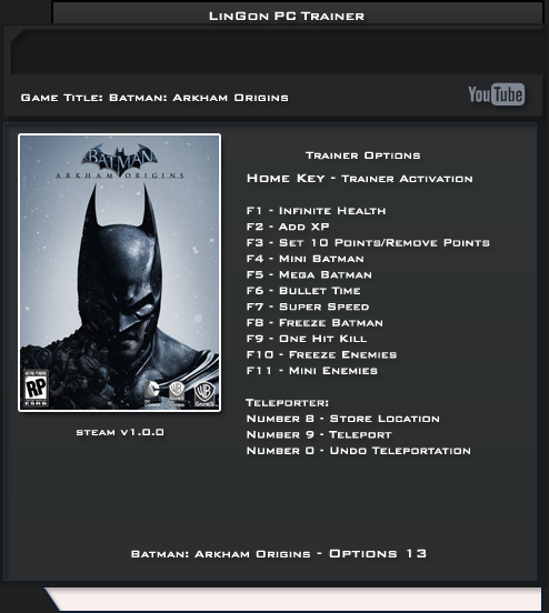 Batman Arkham Origins Trainer