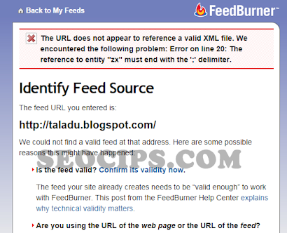 The URL does not appear to reference a valid XML file: eror in feedburner google