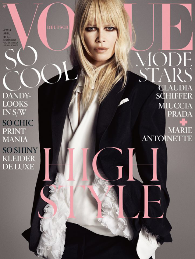 Claudia Schiffer en portada de la revista Vogue abril 2014