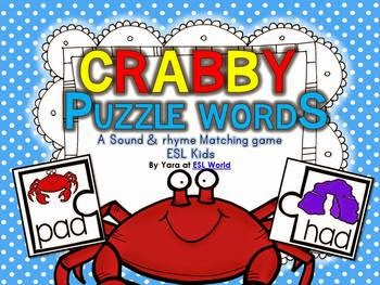 http://www.teacherspayteachers.com/Product/Crabby-Puzzle-Words-CVC-word-sound-matching-game-ESL-Kids-908729