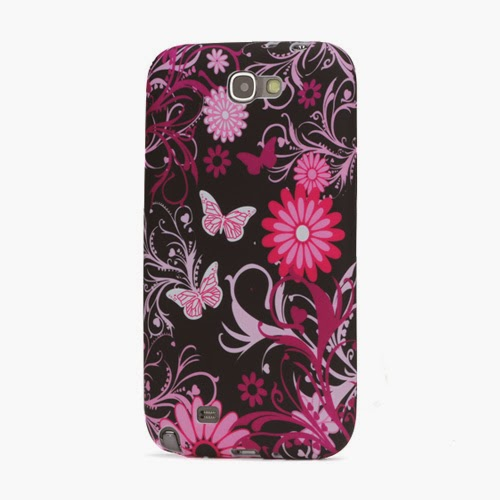 Butterfly Flower TPU Jelly Case for Samsung Galaxy Note 2 / II N7100