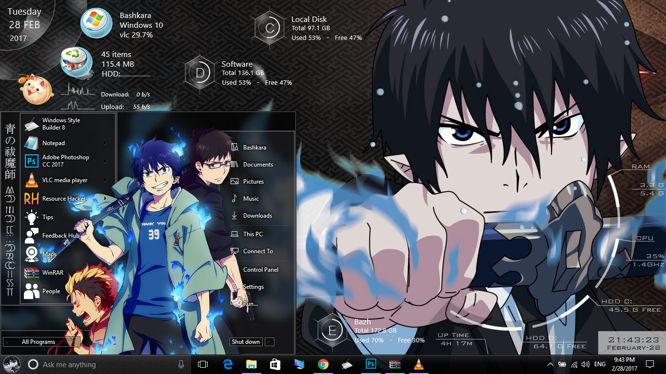 Theme Ao No Exorcist For Windows 10 Version 1607
