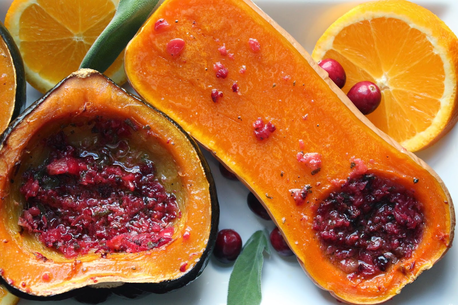 Roasted winter squash with cranberry-sage butter