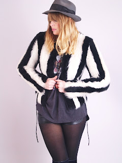 Vintage black and white mod striped shearling cropped fur coat