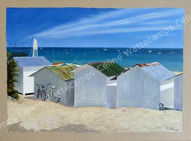 celine wattecamps artiste peintre cabines plage noirmoutier mer. Black Bedroom Furniture Sets. Home Design Ideas