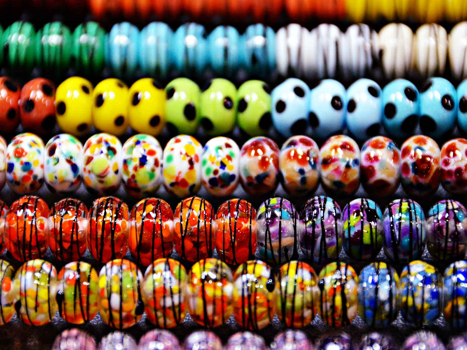 Lampwork glass beads at Bead and Button Show
