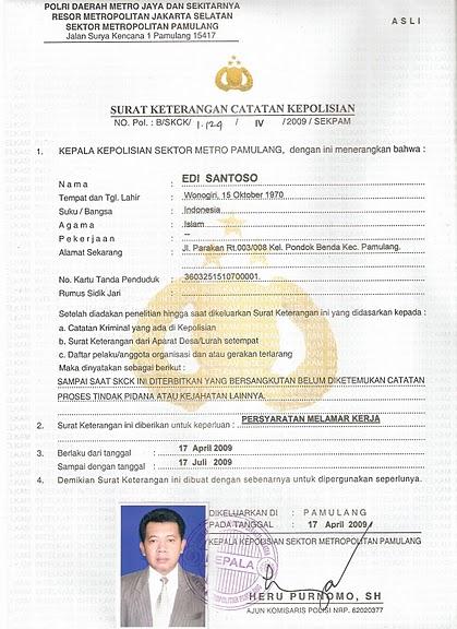 Surat Keterangan Catatan Kepolisian Skck Polsek Pamulang
