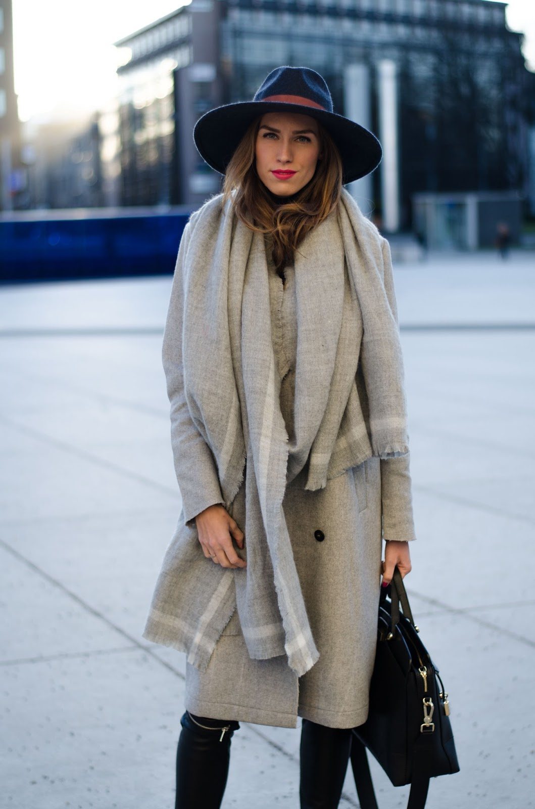 kristjaana mere gray wool coat long scarf fedora hat winter fashion