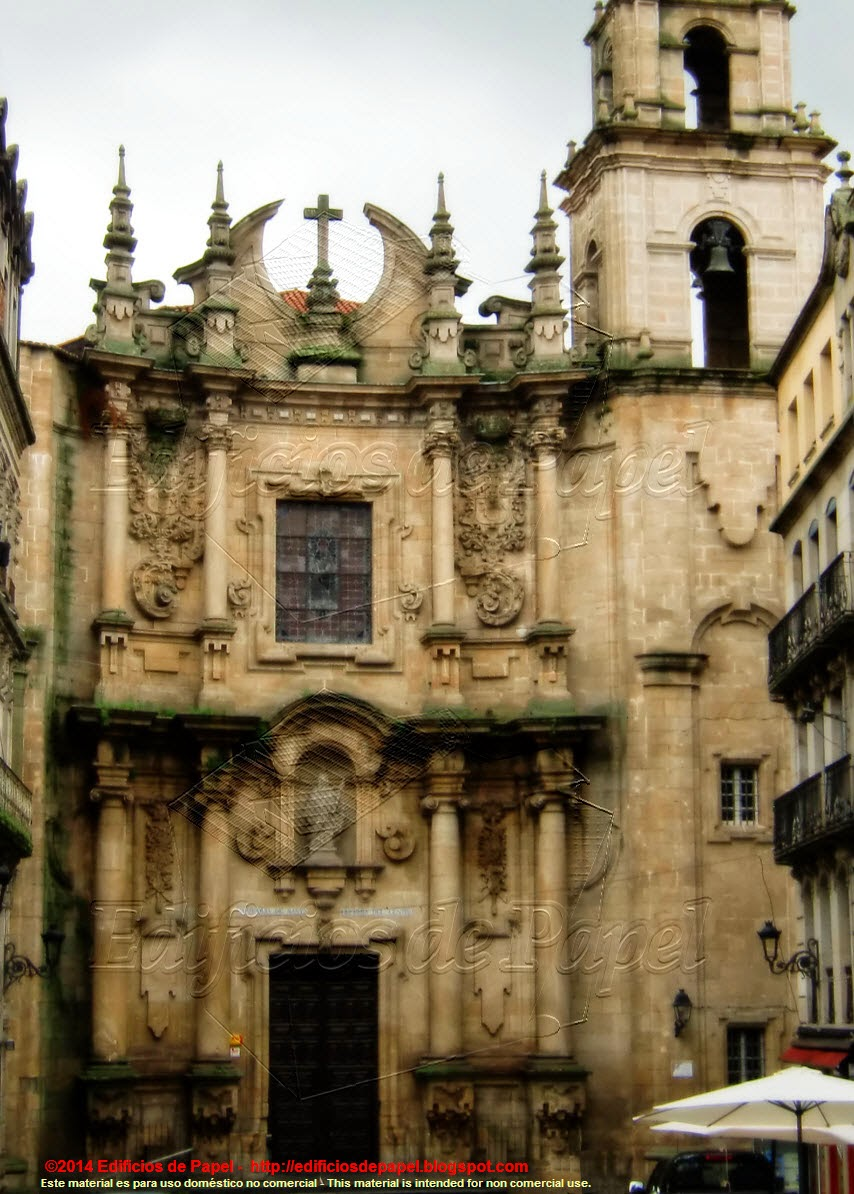 Beautiful façade of a church in Ourense