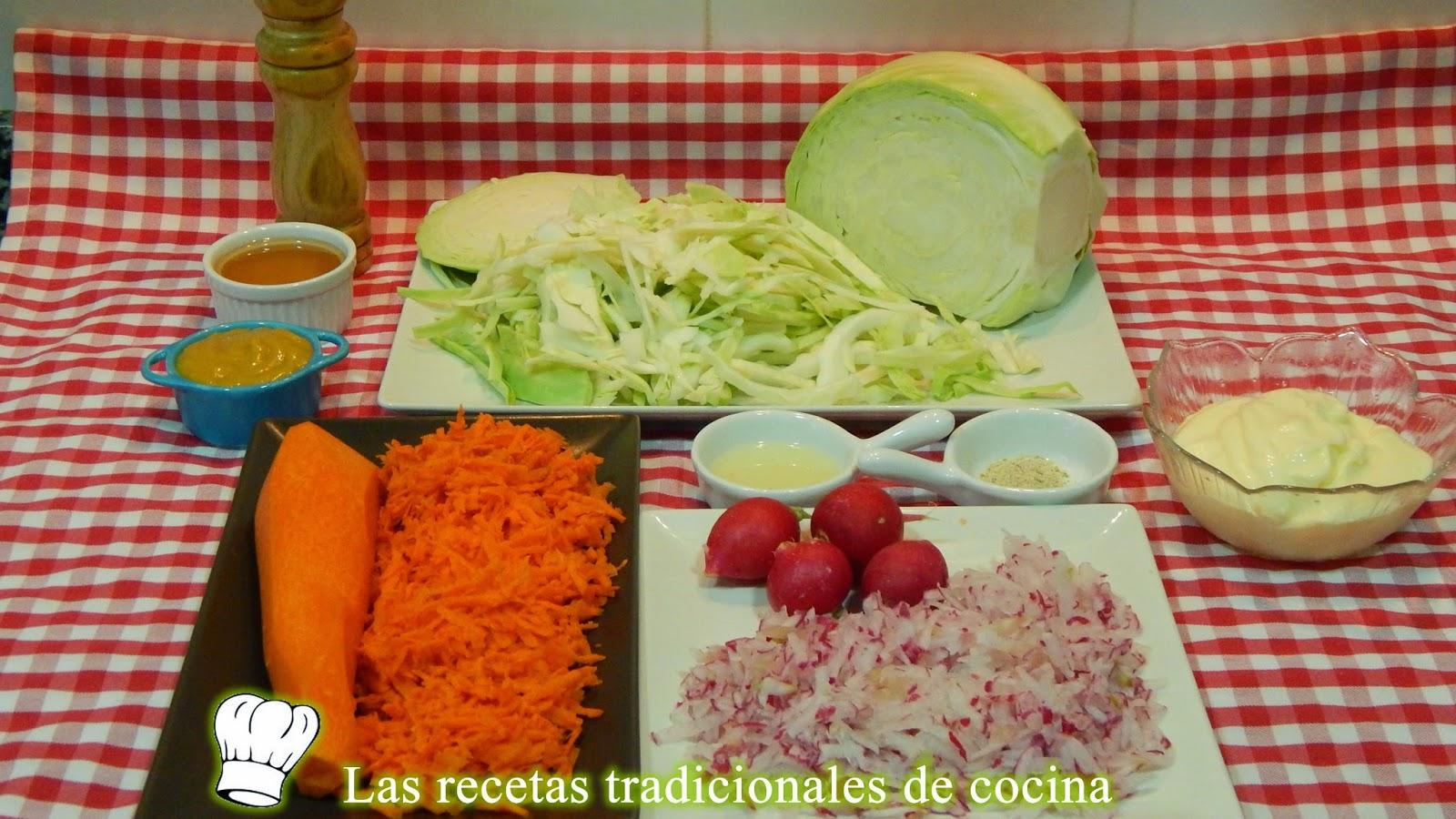 receta de ensalada agridulce de repollo y zanahorias