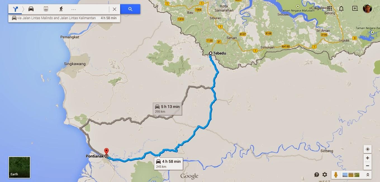 Peta dari Tebedu (Malaysia) ke Pontianak (Kalimantan Barat, Indonesia)
