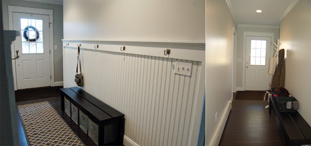Hallway makeover using beadboard