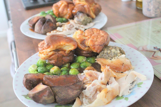 Roast chicken dinner with homemade yorkshire puddings