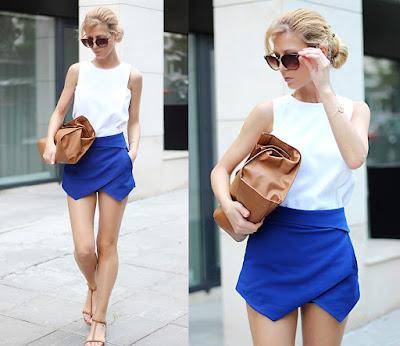 saia short skort azul com top