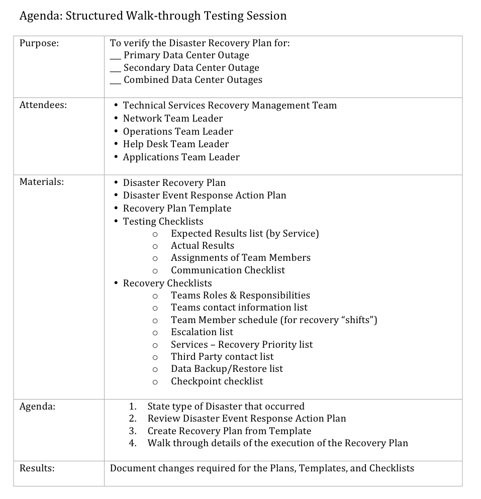 Disaster Recovery Plan Template - Data center disaster recovery plan template