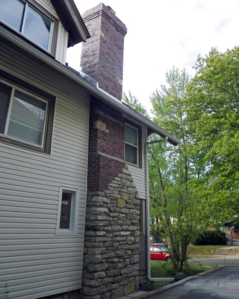 Stone and brick chimney